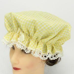 Vintage Yellow Gingham & Lace Bonnet